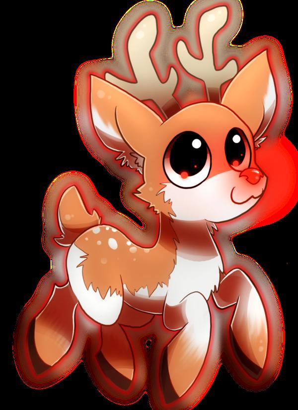 Rudolph ze red nosed. Clipart reindeer kawaii