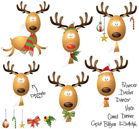 Christmas rudolph red nosed. Clipart reindeer large