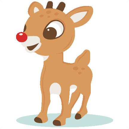 Red nosed svg scrapbook. Clipart reindeer large