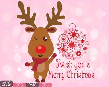 Clipart reindeer merry christmas reindeer. Rudolf deer santa red
