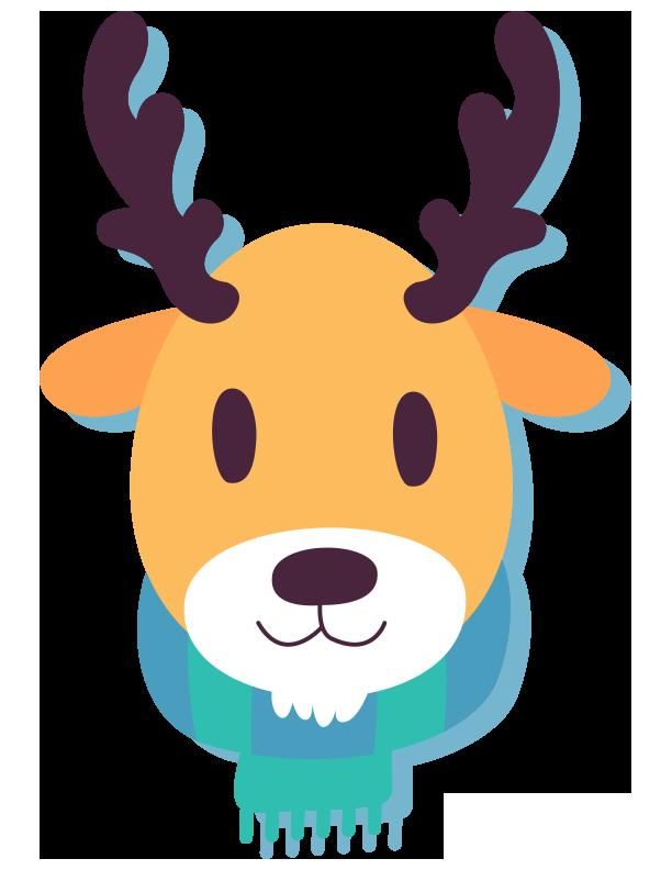 Cute winter animal clip. Clipart reindeer ornament antler clipart