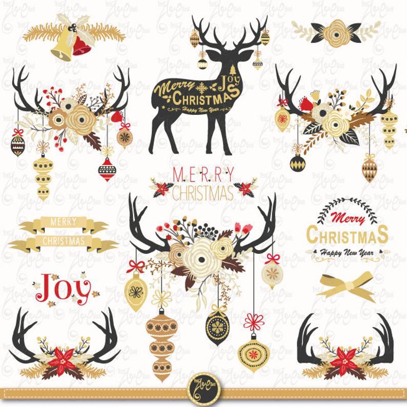 Christmas clip art gold. Clipart reindeer ornament antler clipart