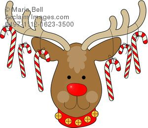 Christmas with candy cane. Clipart reindeer ornament antler clipart
