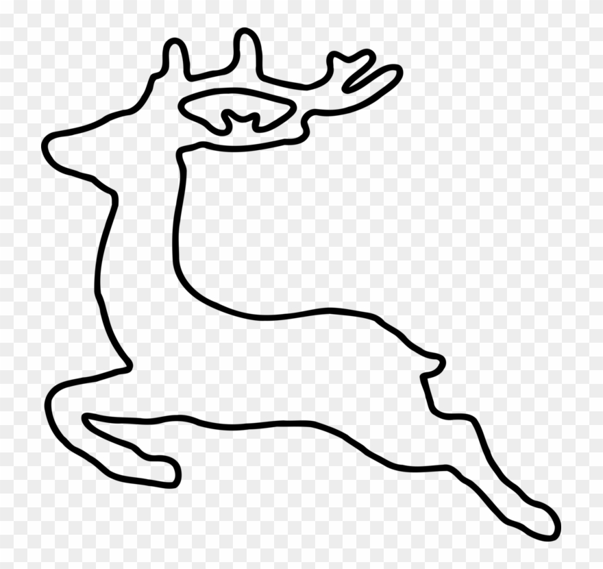 Clipart reindeer outline. Christmas santa claus silhouette