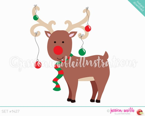 Clipart reindeer party. Instant download cute christmas