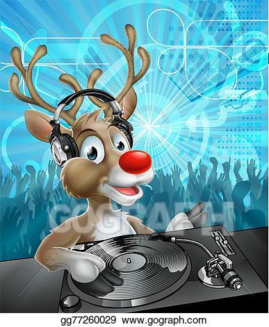Clipart reindeer party. Vector art christmas dj