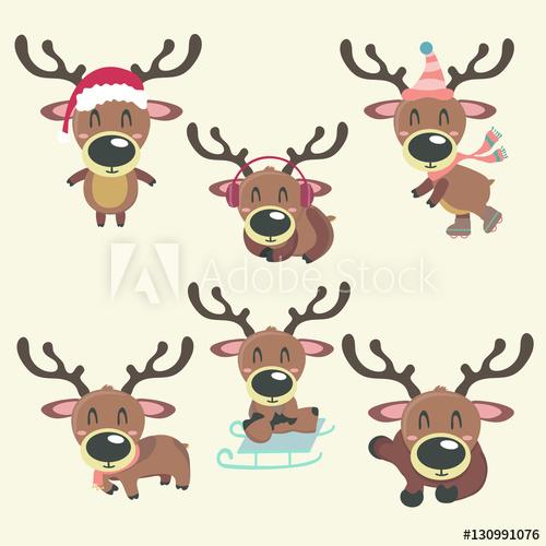 Clipart reindeer rain. A set of vector