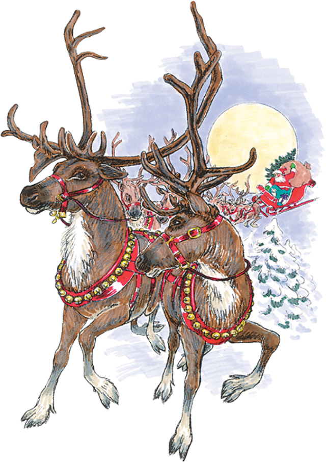 Clipart reindeer realistic. Santas sleigh and how