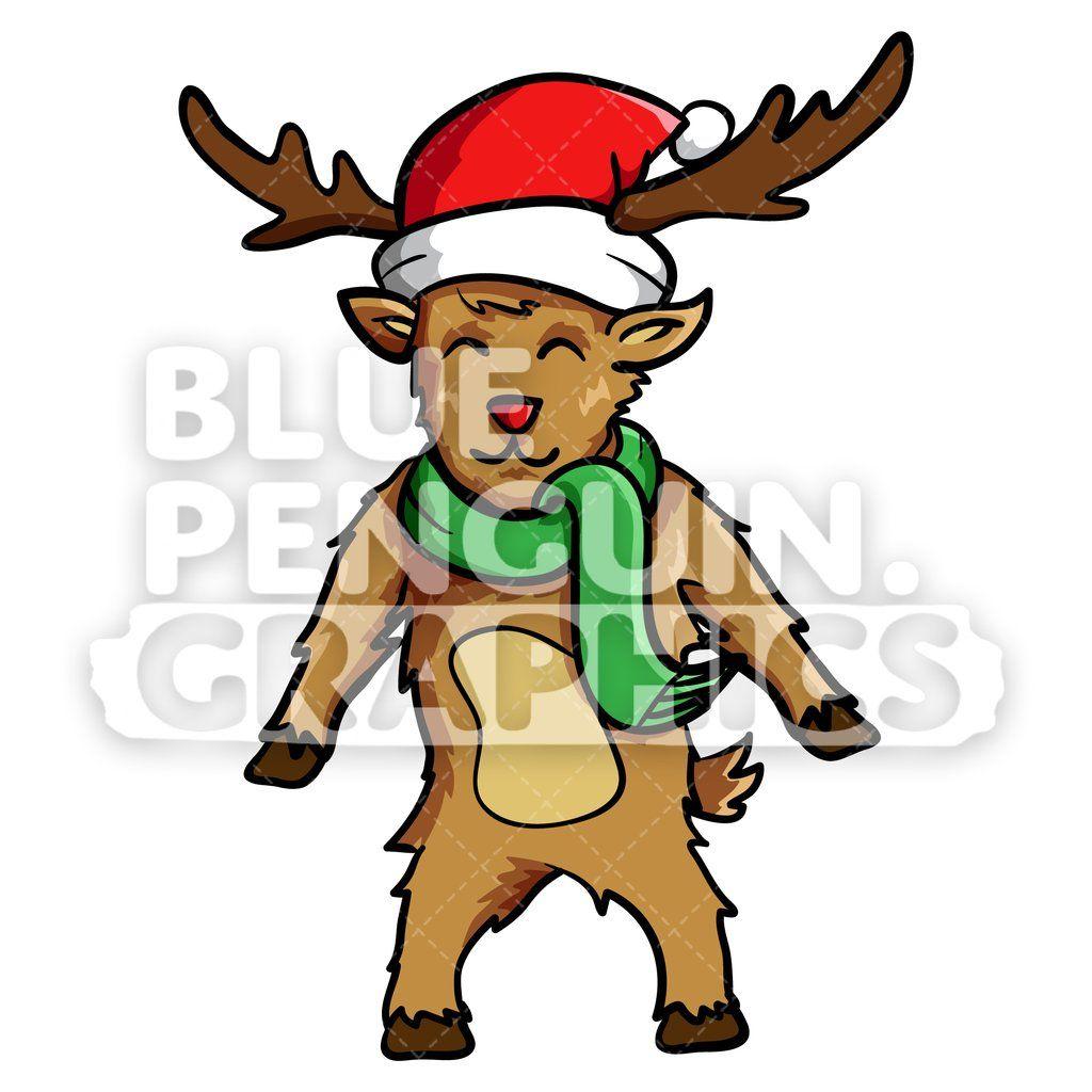 Clipart reindeer reindeer costume. Standing christmas vector cartoon