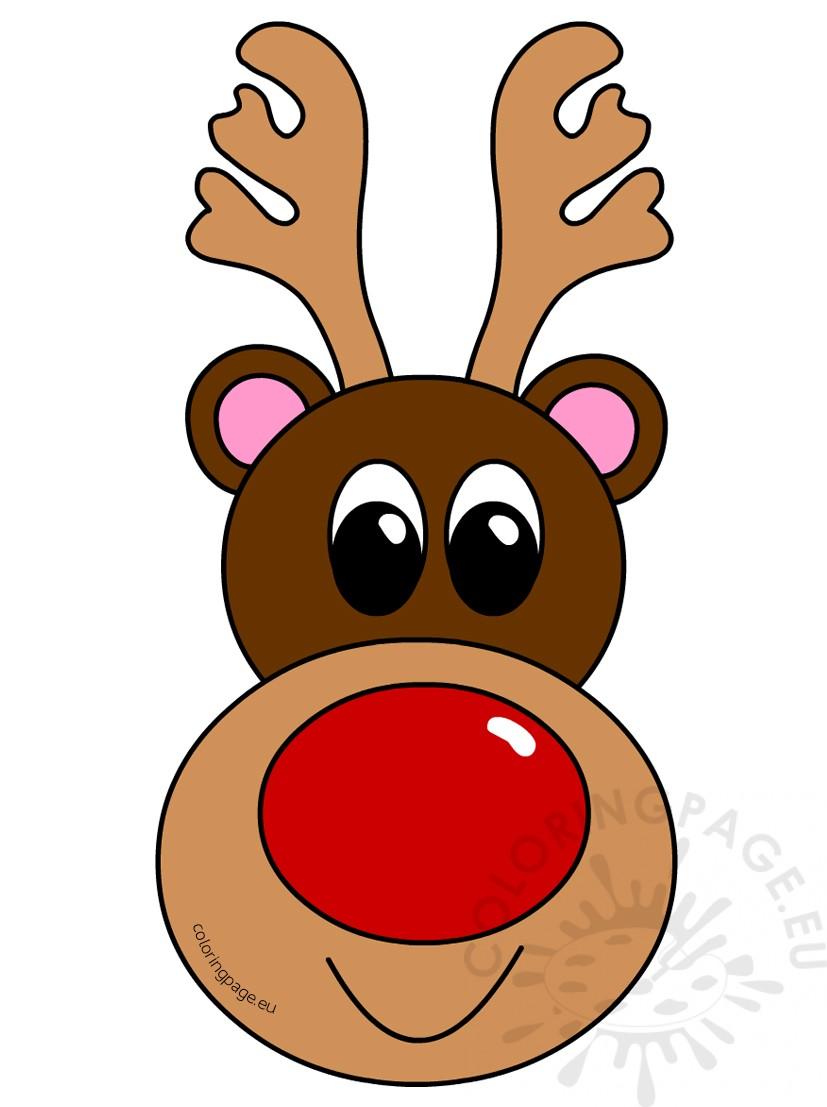 Clipart reindeer reindeer head. Christmas coloring page