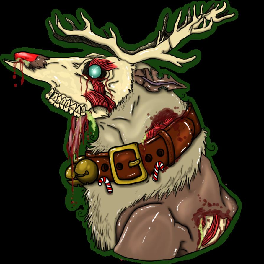 Zombie rudolph t shirt. Clipart reindeer sad