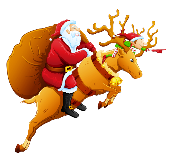 Sleigh clipart riding. Santa claus png images