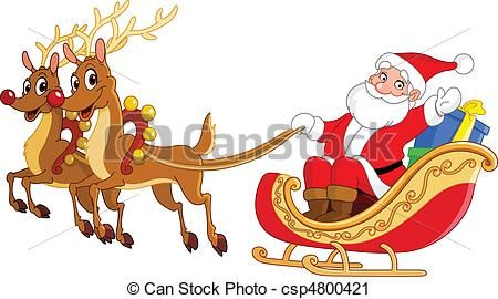 Clipart reindeer sleigh. Santa and graphics csp
