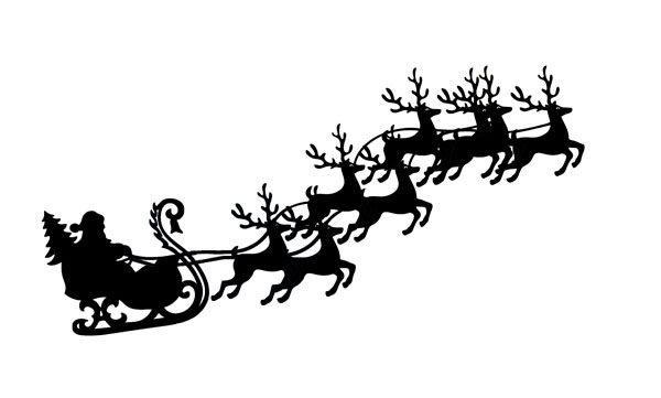 Santa and flying with. Clipart reindeer sleigh