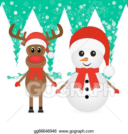Clipart reindeer snowman. Eps vector christmas and