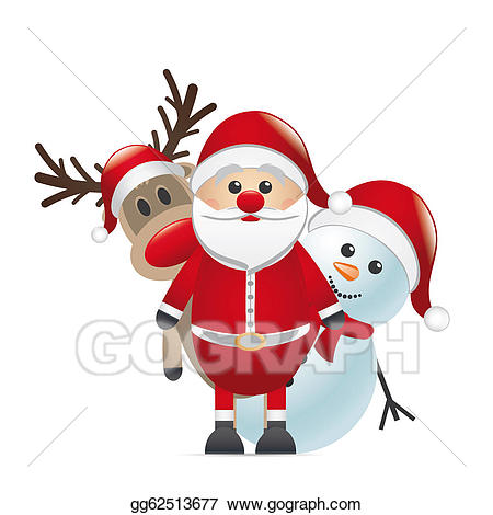 Stock illustration red nose. Clipart reindeer snowman