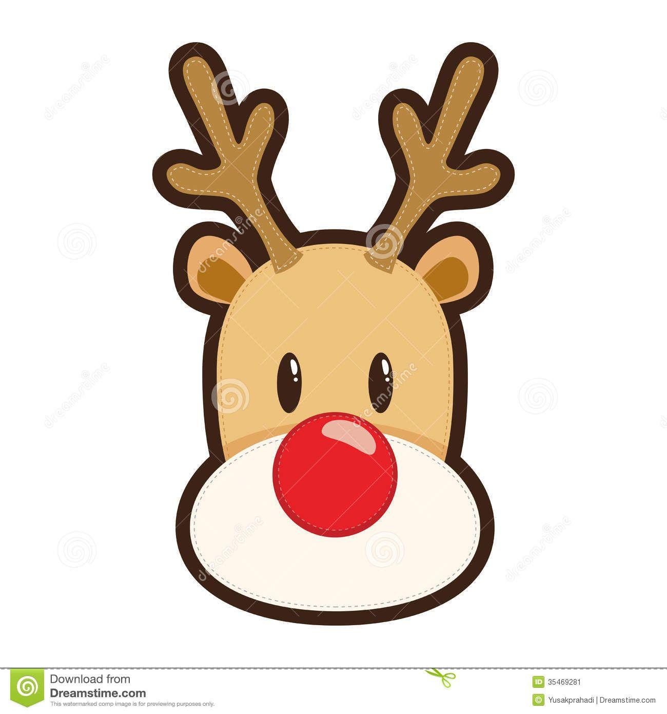 Cartoon illustration of rudolph. Clipart reindeer toddler