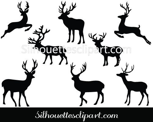Clipart reindeer vector. Christmas deer silhouette download