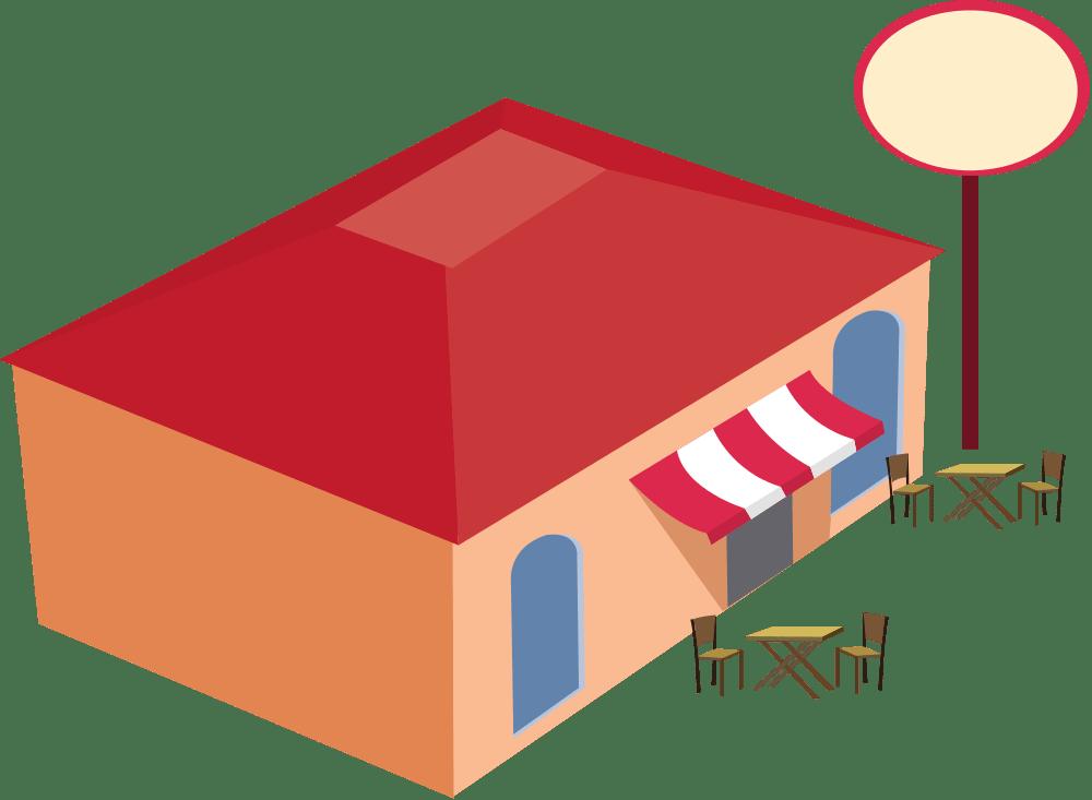Cartoon building . Clipart restaurant bistro