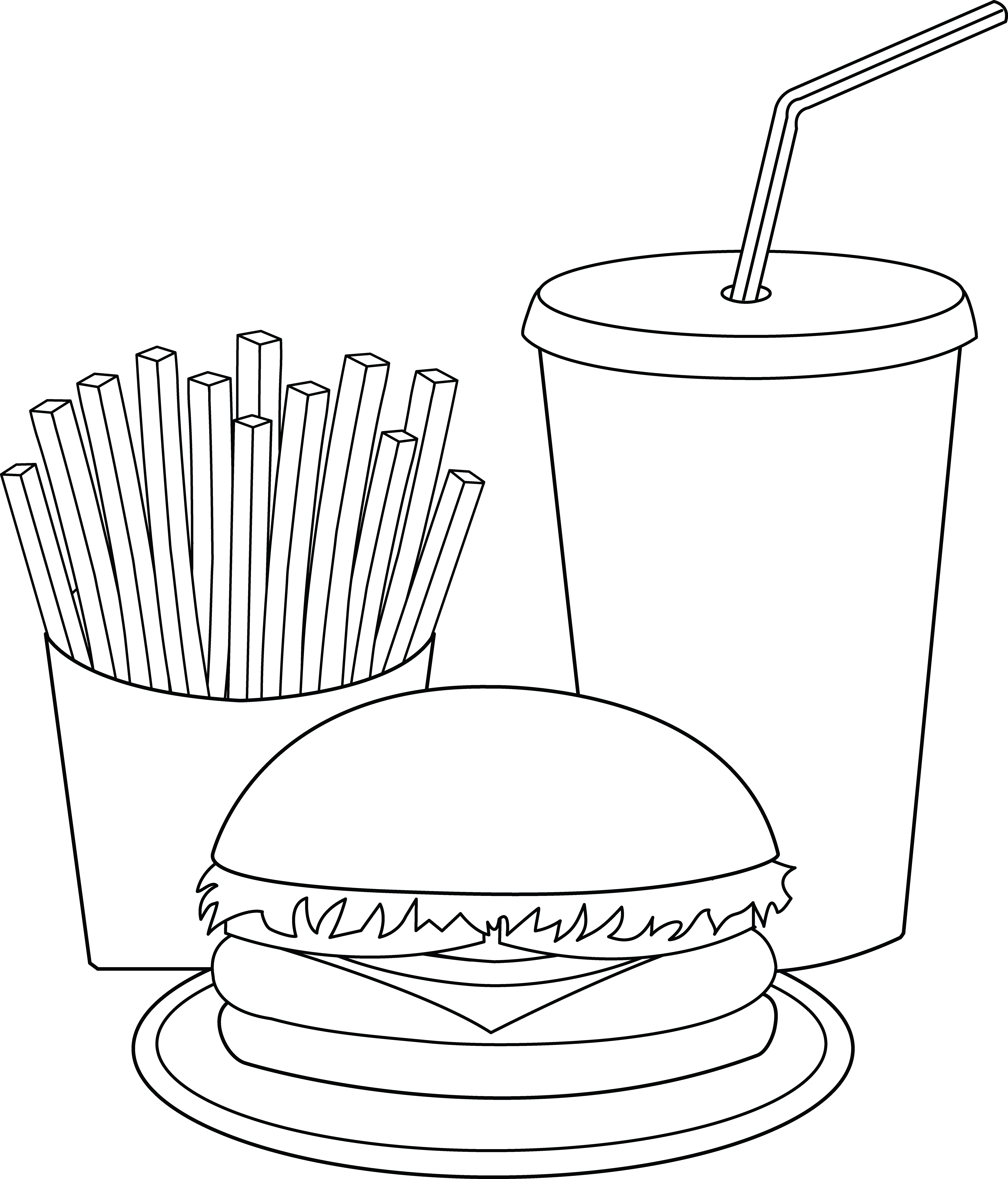 Fries clipart drawn. Restaurant coloring free collection