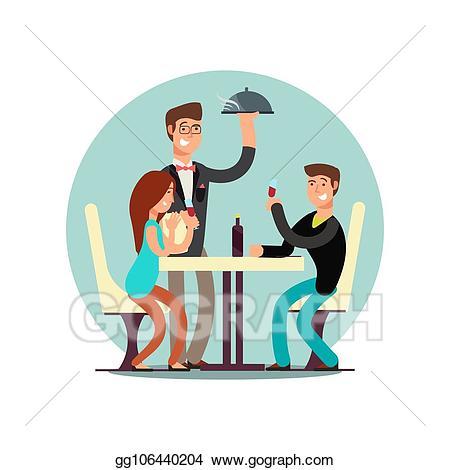 Vector cartoon character in. Restaurants clipart couple dining