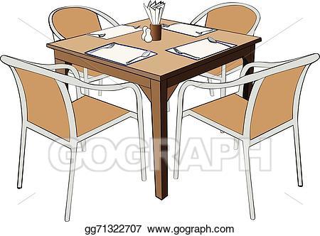 Vector stock dinner illustration. Clipart restaurant dining table