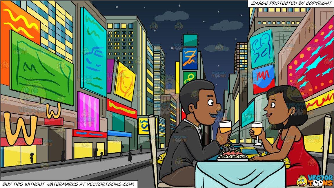 A black couple enjoying. Clipart restaurant dinner night
