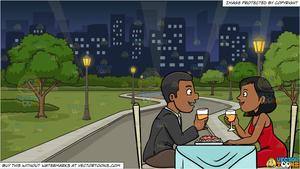 A black couple enjoying. Restaurants clipart dinner night