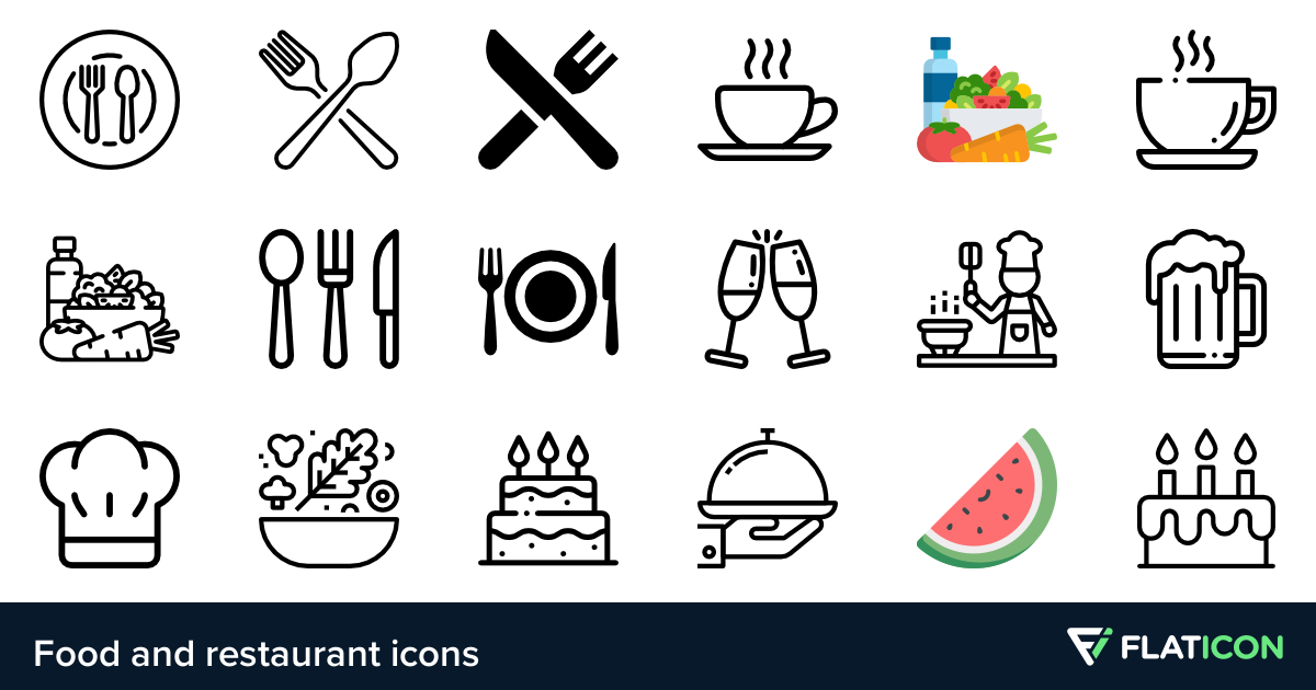 Food and restaurant icons. Diner clipart hotel menu