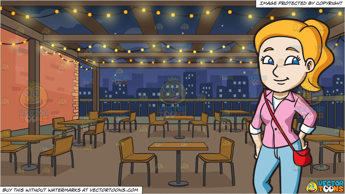 A young woman ready. Clipart restaurant go to