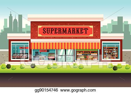 Vector art supermarket drawing. Clipart restaurant grocery store building