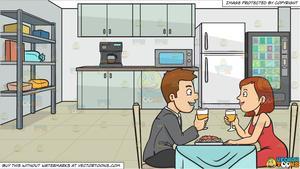 A couple enjoying romantic. Clipart restaurant lunch date