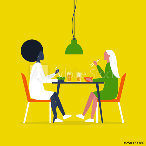 Clipart restaurant lunch date. Young lesbian couple eating