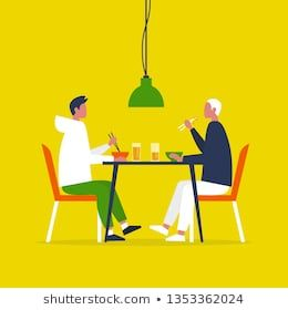 Clipart restaurant lunch date. Young gay couple eating