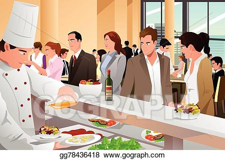 Clipart restaurant office lunch. Vector stock business people