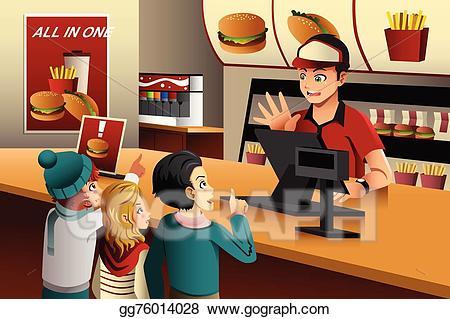 Restaurants clipart canteen. Vector illustration kids ordering