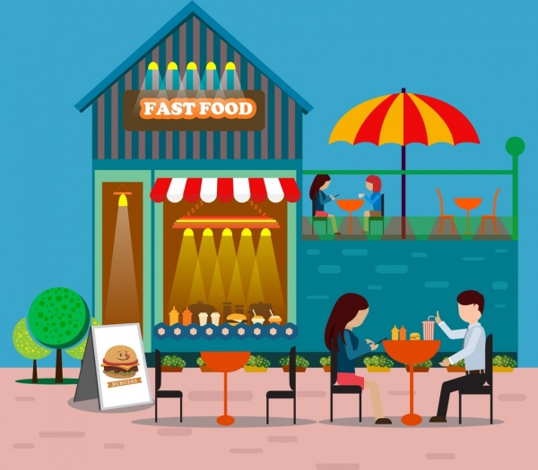 Fast food drawing colorful. Clipart restaurant outdoor restaurant