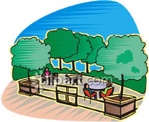 Surrounded by trees royalty. Clipart restaurant outdoor restaurant