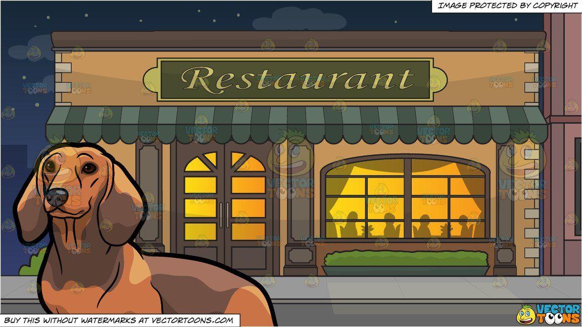 Cartoon an adorable dachshund. Clipart restaurant outside restaurant