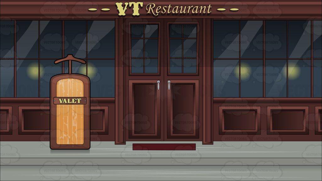 Clipart restaurant outside restaurant. A valet stand background