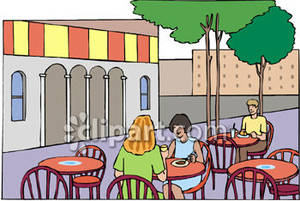 Clipart restaurant outside restaurant. Seating at a cafe