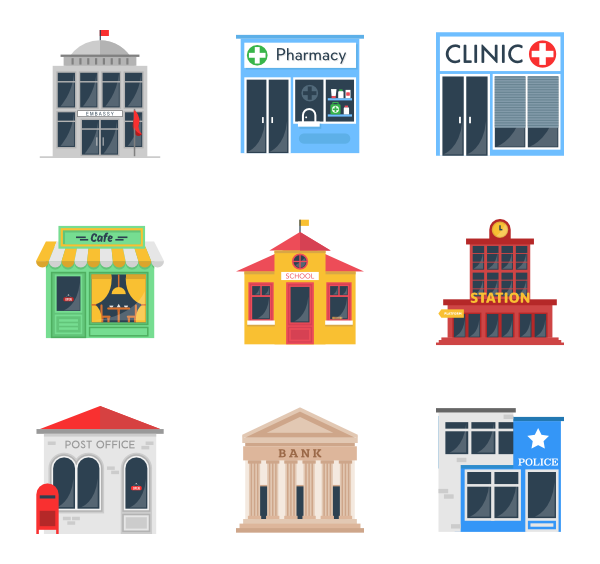 Icons free vector elements. Clipart restaurant restaurant building