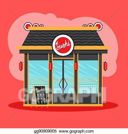 Vector illustration sushi view. Clipart restaurant restaurant front