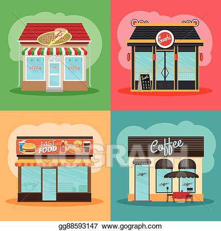 Clipart restaurant restaurant front. Vector art or fast
