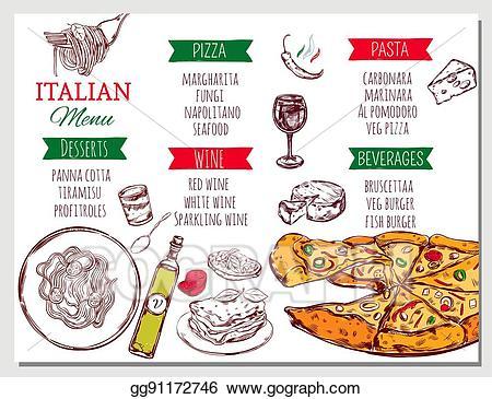 Clipart restaurant restaurant menu. Vector art italian drawing