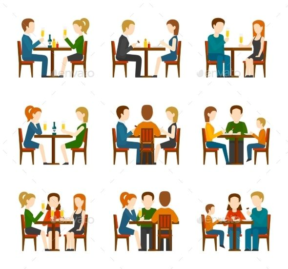 Clipart restaurant restaurant person. Group of people eating