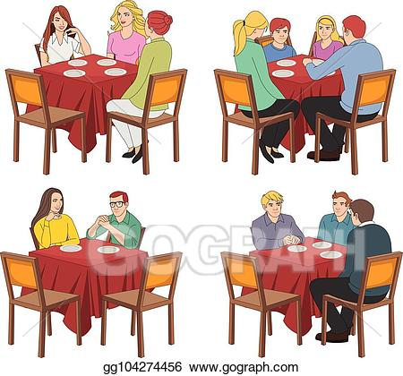 Clipart restaurant restaurant person. Eps vector tables with