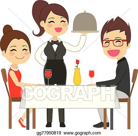 Eps vector waitress serving. Clipart restaurant restaurant server
