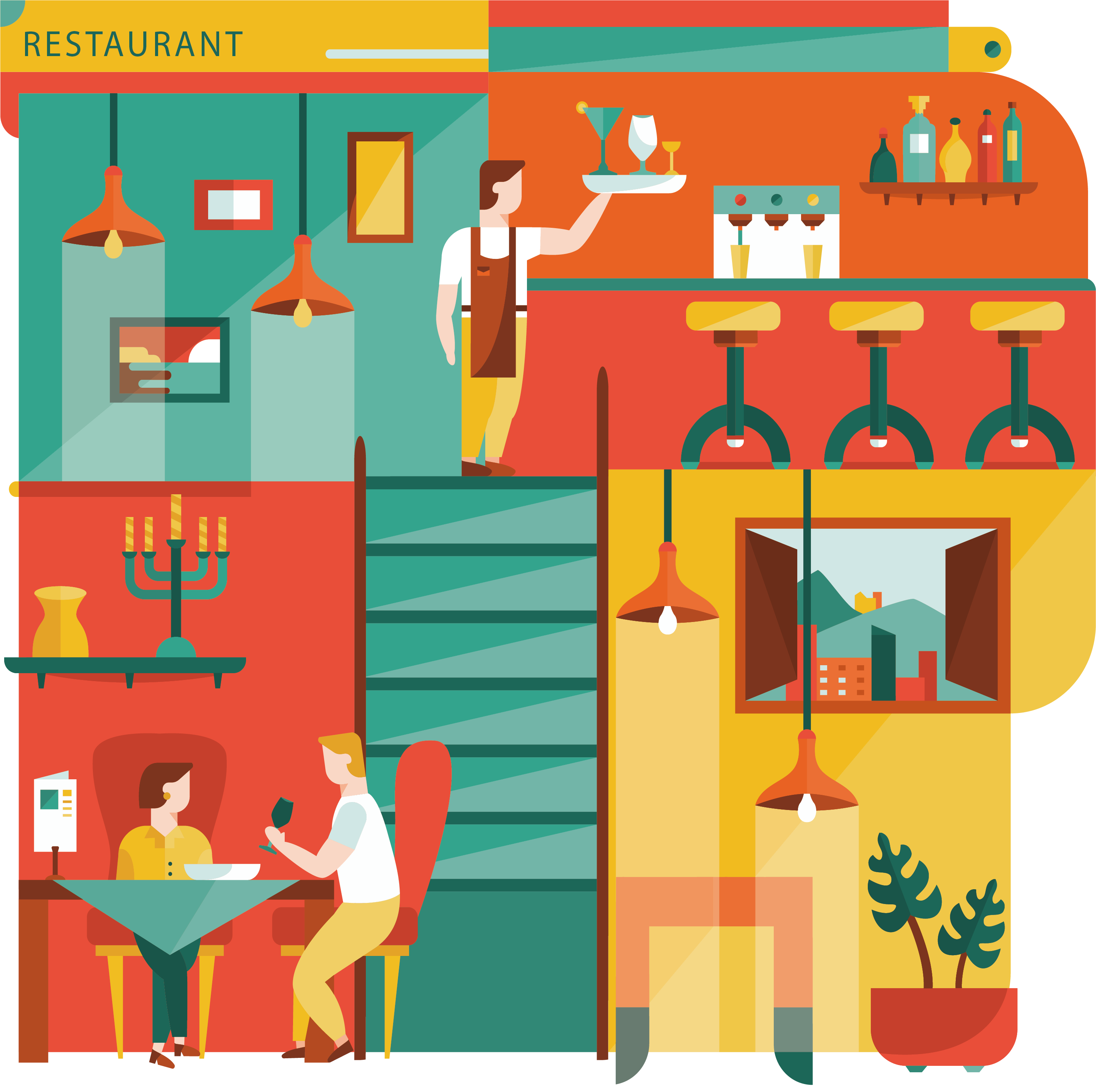 Flat design illustration model. Restaurants clipart retro restaurant