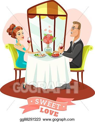 Eps vector couple having. Clipart restaurant romantic dinner